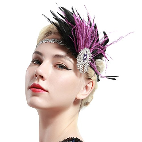 BABEYOND Women's Vintage Flapper Feather Headband 1920s Headpiece Feather Hair Accessories Crystal