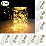 8 PCS LED String Light, Battery Operated 20 Micro Starry LED Silver Copper Wire Lights, 6.5 Feet/2M,Best for Mason Jar Lights,Moon Lights,Party,Wedding and Home Decoration (Warm White)
