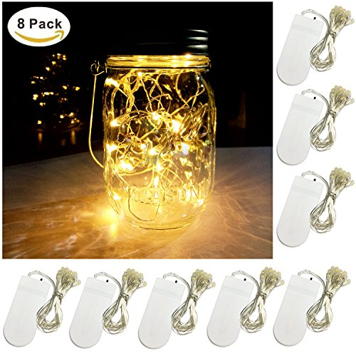 Yitee Waterproof Battery Operated Mason Jar Silver Copper Wire 20 Micro Starry LED String Lights, 6.5-Feet / 2 Meter, Warm White, 8 (Led Mason Jar Lights)