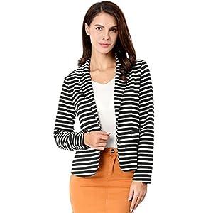 Allegra K Women's Notched Lapel Pocket Button Closure Striped Blazer 27