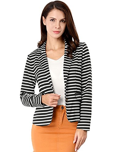 Cotton Cropped Blazer - Allegra K Women's Notched Lapel Button Closure Striped Blazer XL Black