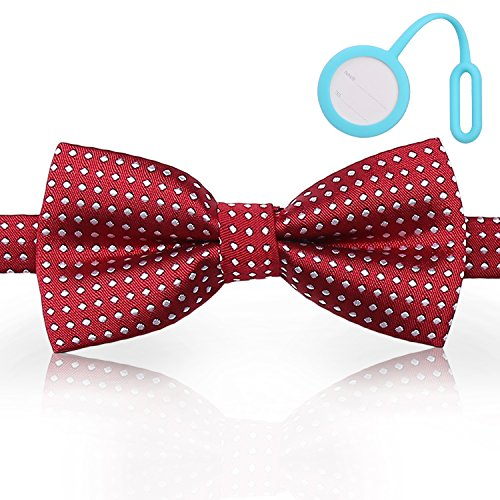 Yosuta Pet Bowties Dog Collar Neckties Dog Ties Adjustable Pet Dog Accessories Cute Gift for Small Dogs and Cats with Silicone ID Tag (Bill Nye Science Guy Costume)