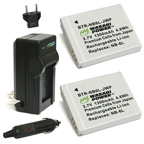 (Wasabi Power Battery (2-Pack) and Charger for Canon NB-6L, NB-6LH, CB-2LY and Canon PowerShot D10, D20, D30, ELPH 500 HS, S90, S95, S120, SD770 IS, SD980 IS, SD1200 IS, SD1300 IS, SD3500 IS, SD4000 IS, SX170 IS, SX240 HS, SX260 HS, SX270 HS, SX280 HS, SX500 IS, SX510 HS, SX520 HS, SX530 HS, SX600 HS, SX610 HS, SX700 HS, SX710 HS)