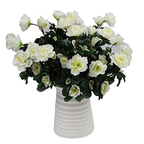 (Lopkey Outdoor Artificial Red Azalea Bush White)