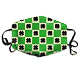 St Patricks Day Shamrock Unisex Activated Carbon Anti Dust Face Mask Mouth Masks With Adjustable Straps