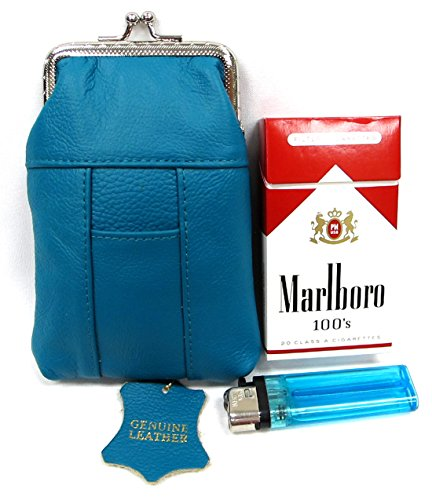 - One Pair TURQUOISE BLUE/GREEN Genuine Leather Soft Cigarette Case Pouch+Lighter Pocket fit 100s Pack
