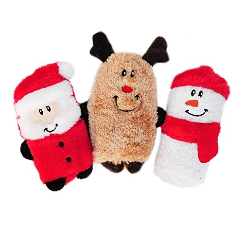 ZippyPaws - Holiday Squeakie Buddies No Stuffing Plush Dog Toy - 3-Pack Santa, Reindeer, Snowman (Christmas Gifts Dog)