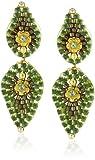 Miguel Ases Small Green Lotus Petal Drop Earrings