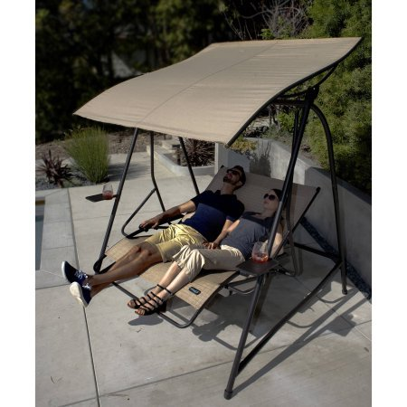 Cloud 9 Outdoor 2-Person Reclining Lounge Swing with Canopy