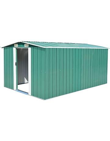 vidaXL Caseta Jardín Metal Galvanizado Verde 257x398x178 cm Almacén Cobertizo