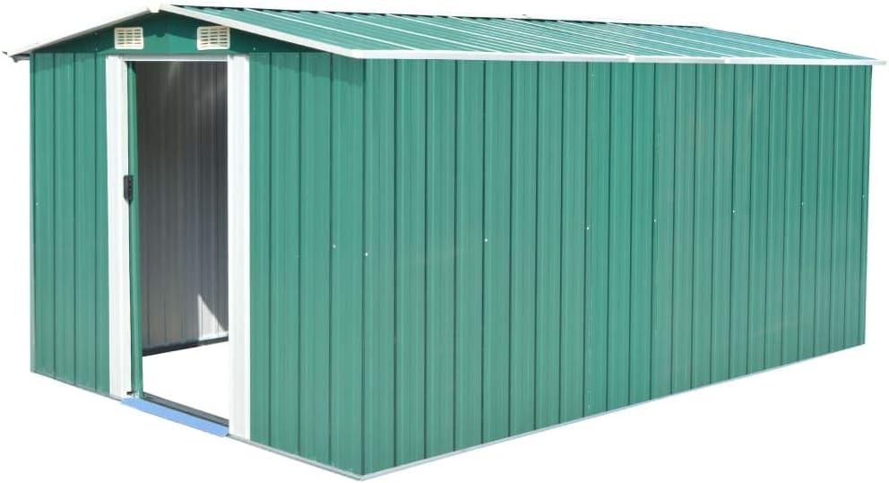 Tidyard Caseta de Jardín Exterior con 4 Ventilación para Almacenamiento de Herramientas de A Prueba de Polvo y Resistente a la Intemperie de Acero Galvanizado 257x398x178 cm Verde: Amazon.es: Hogar