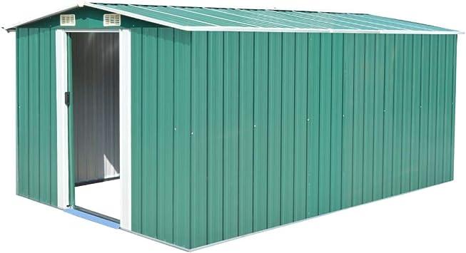 vidaXL Caseta Jardín Metal Galvanizado Verde 257x398x178 cm ...