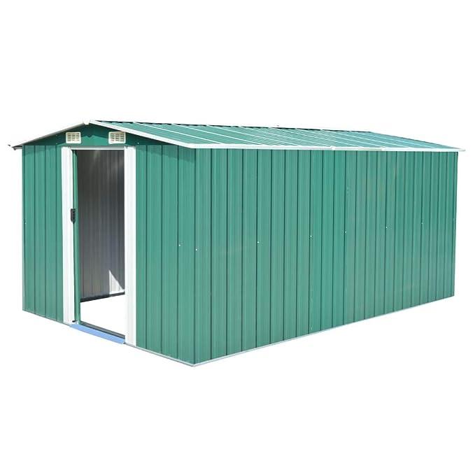 tidyard - Caseta de Exterior, cobertizo para leña/leña de Madera de Pino impregnado, 257 x 398 x 178 cm, Acero galvanizado/Verde: Amazon.es: Hogar