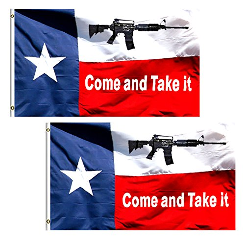 (2 Pack) Come And Take It Texas Flag - 3x5 ft 100% Polyester Sharp and Vivid Color Outdoor