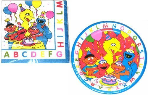 Sesame Street and Friends ABC Party Lunch Plates and Napkin Set (Sesame Street Party Big Bird Lunch Napkins)