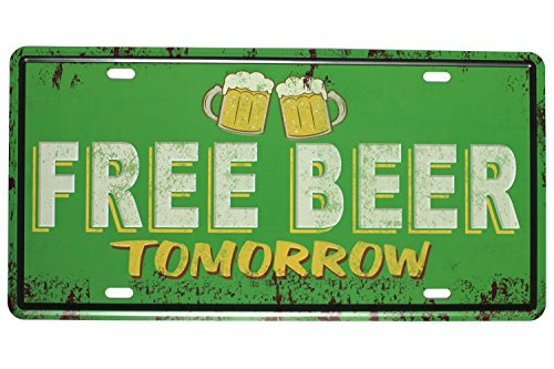 Sumik Free Beer Tomorrow, Metal Tin Sign, Vintage Art Poster Plaque Kitchen Bar Pub Home Wall Decor