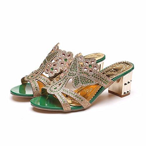 Gracieusement Sortir Ladies' Mariage Sandales Chaussons pour L'Été Green YUCH BEwxv6gqtg