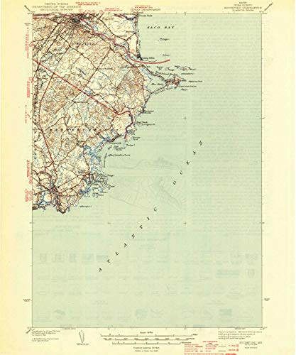 YellowMaps Biddeford ME topo map, 1:62500 Scale, 15 X 15 Minute, Historical, 1944, 19.8 x 16.5 in - Paper ()