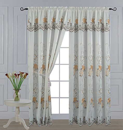 All American Collection New 2 Panel Elegant Embroidered Curtain with Attached Valance and Sheer Backing 2 New Valances Curtains
