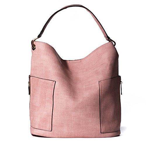 Tote Pink Fabric Handbags - 4