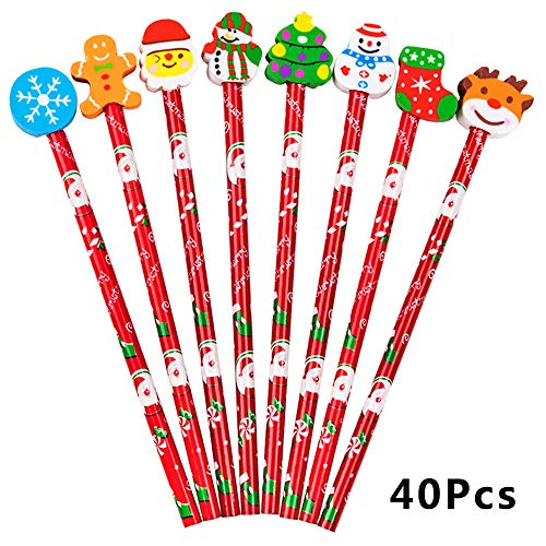 Eoout 40pcs Christmas Wooden Pencils with Eraser (8 Patterns) HB Holiday Pencils for Party Favor Xmas Gift