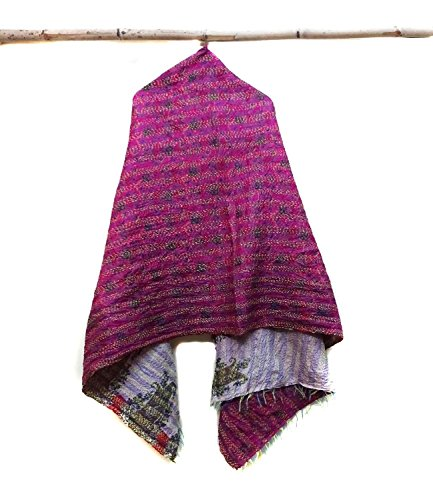 Silk Kantha Scarf Neck Wrap Stole veil Hand Quilted Women Shawl Stitched