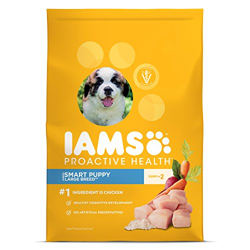 IAMS PROACTIVE HEALTH Smart Puppy Large Breed Premium Dry Dog Food (1) 30.6 Pound Bag; Veterinarians Recommend IAMS; Chicken Is #1 Ingredient