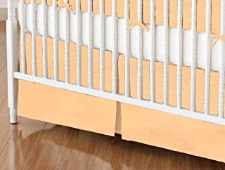 product image for SheetWorld 100% Cotton Percale Crib Skirt 28 x 52, Solid Peach Woven, Made in USA