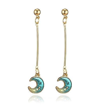 Femmes Étoile Boucle Cadeau Boucles D'oreilles Bijoux Pour D'oreille Bellelove Filles Belle Mode Bleu Lune Longue Multicolore kXiOPuZ