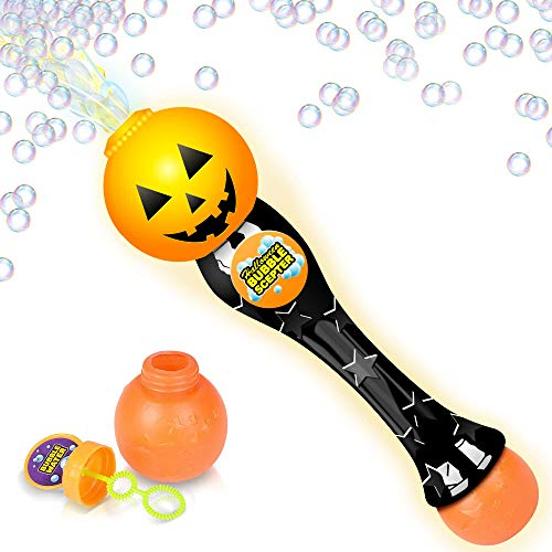ArtCreativity Light Up Halloween Bubble Blower Wand 13.5 Illuminating Bubble Blower Wand w/ Thrilling LED Effect for Kids, Bubble Fluid - Batteries Included | Gift Idea/Halloween Party Favors