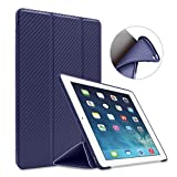 GOOJODOQ iPad Mini 1/2/3 Case, Smart Cover with Magnetic Auto Sleep/Wake Function PU Leather Shockproof Silicon Soft TPU Folio Case for Apple iPad Mini 1/2/3 in Dark Blue
