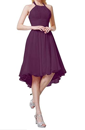 Aokaixin Halter Pleats Backless Hi-Lo Chiffon Party Cocktail Bridesmaid Dresses