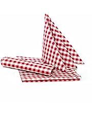 Lantliga rutiga dukar – valbar färg och storlek – 100 % bomull (60 x 60 cm fyrkantig, röd-vit rutig)