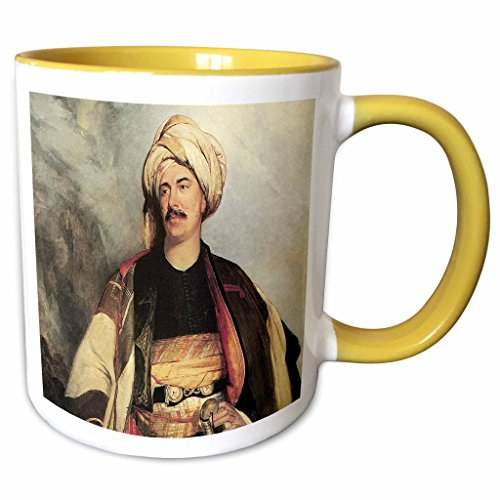 3dRose BLN Middle Eastern and Northern African Fine Art Collection - David Roberts Esq. in the Dress in Wore in Palestine by Robert Scott Lauder - 15oz Two-Tone Yellow Mug ()