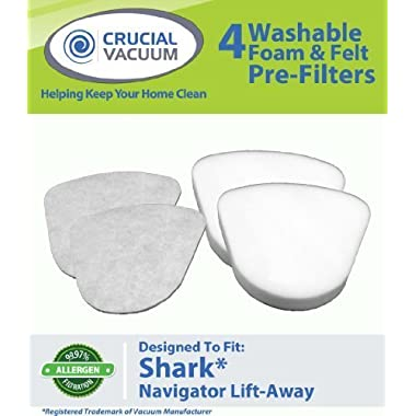 Shark Navigator Lift-Away NV350, NV351, NV352, NV355, NV356, NV356E, NV357 Washable Foam and Felt Pre-Filter Replacement Kit 4PK, Replaces Shark Part# XFF350 & XFF350NZ, Designed & Engineered By Crucial Vacuum