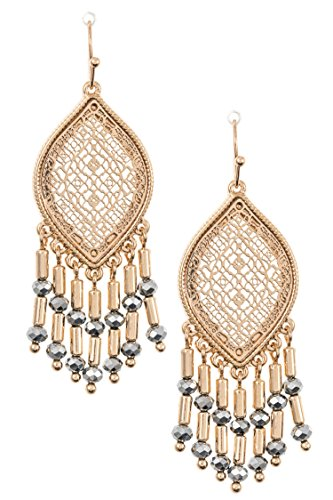 GlitZ Finery Triangle Tribal Ornate Pendant Necklace Set (Antique Gold)