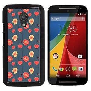 Design for Girls Plastic Cover Case FOR Motorola G 2ND GEN II Floral Blue Red Pink Wallpaper Native OBBA