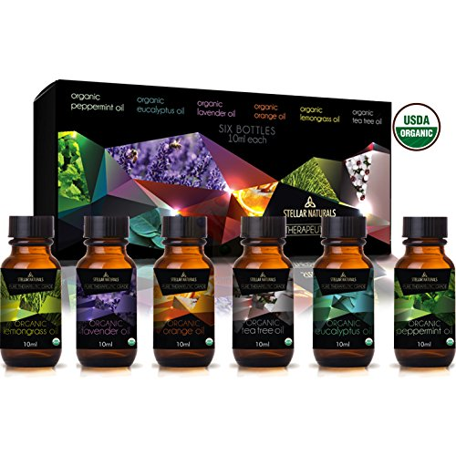 Stellar Naturals Organic USDA Aromatherapy Set of Lavender, Eucalyptus, Lemongrass, Peppermint, Tea Tree and Orange for Therapeutic Bliss by Stellar Naturals