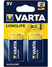 Varta Longlife 9V Block batterij 6LR61 (verpakking met 2 stuks) Alkaline E-Block Batterijenideaal voor brandmelder rookmelder stemapparaat