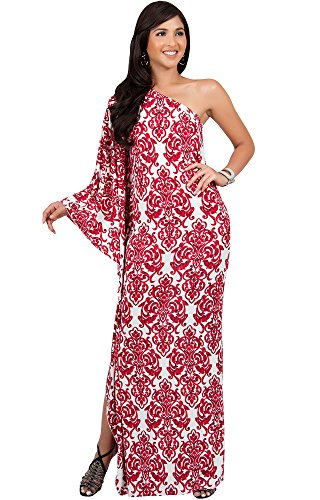 KOH KOH Plus Size Womens Long One Off The Shoulder Summer Flowy Cocktail Party Evening Damask Print Printed Elegant Evening Sexy Sundress Gown Gowns Maxi Dress Dresses, Red and White -