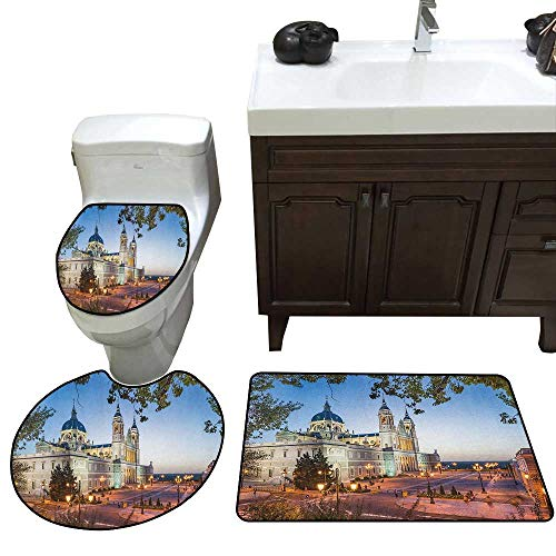(Moeeze-Home European Custom Toilet Seat Cover Old Cathedral and Palace in Madrid Mediterrenean City Europe Urban Print Toilet Bath Mats Rugs Multicolor)