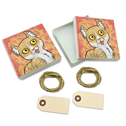 American Curl Cat with Tongue Hanging Out White Gift Boxes Set of - Curl Trinket