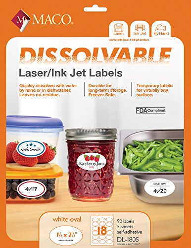 MACO Laser/Ink Jet White Dissolvable Oval Labels, 1-1/2 x 2-1/2 Inches, 18 Per Sheet, 90 Per Pack (DL-1805)