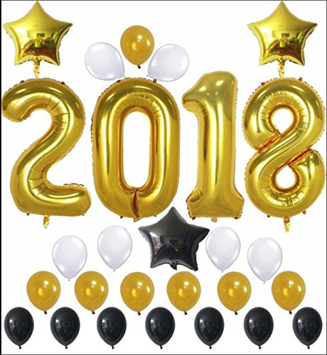 2018 Balloons for Graduation Prom - New Years Eve & Birthday Party - Black & Gold Balloon Decorations Decor - by Jolly Jon -