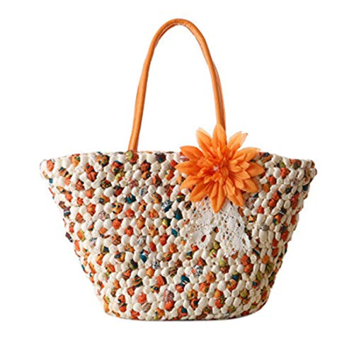 (XFASY Summer Beach Straw Handbag Tote Bag Colorful Shoulder Bag,Cotton Lining Exquisite Straw Tote Bags for Women (Orange red))