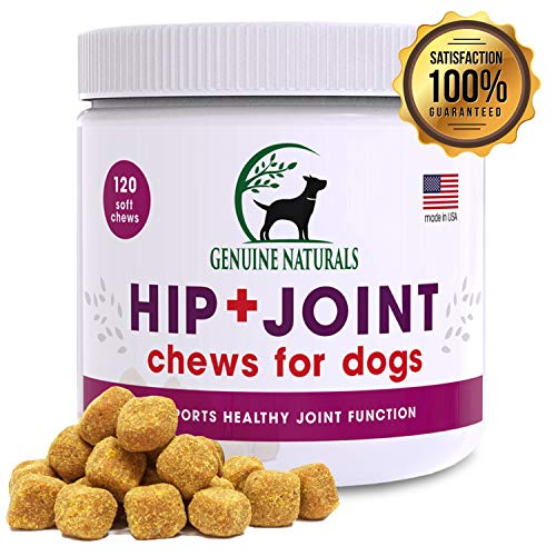Genuine NaturalsTM Glucosamine Chondroitin, MSM, Organic Turmeric Soft Chews, Hip and Joint Supplement for Dogs, Supports Healthy Joint Function and Helps with Pain Relief, 120-Count