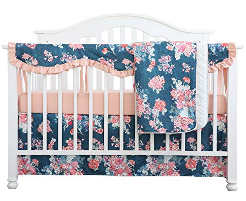 Sahaler Crib Rail Guard Set Boho Floral Nursery Baby Bedding Ruffled Crib Skirt Crib Rail Cover Set (Coral Navy Peony)