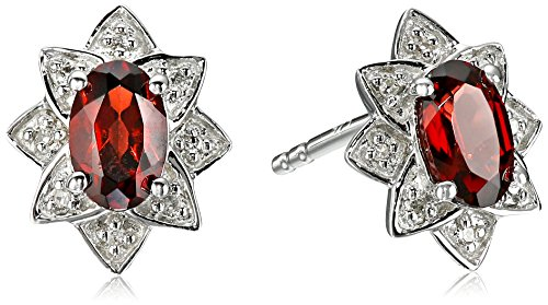 Sterling Silver Garnet and Diamond Accent Accent Halo Star Stud Earrings