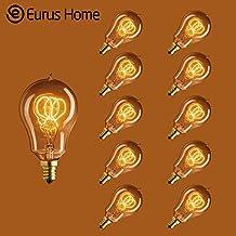 Eurus 25 Watt Vintage Antique Light Bulb A15 E12 Edison Style - Candelabra Base - 3 Loop Hand-Wound Tungsten Filament (10 Pack)