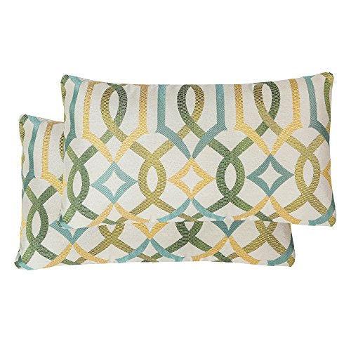 Pack of 2 SimpleDecor Jacquard Geometric Links Accent Decorative Lumbar Throw Pillow Covers Multicolor 12X20 Inches Green
